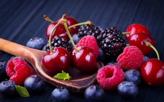 Wallpaper Cherry and berries, spoon, fruit