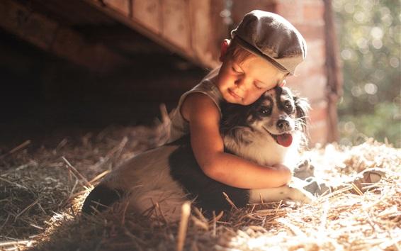 Fondos de pantalla Niño niño y perro, amistad