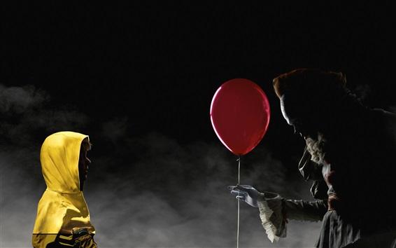 Обои Ребенок, ведьма, красный шар, ужас