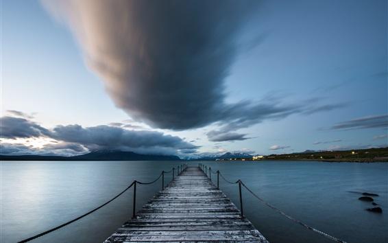 Hintergrundbilder Chile, Puerto Natales, Patagonien, Meer, Pier, Wolken