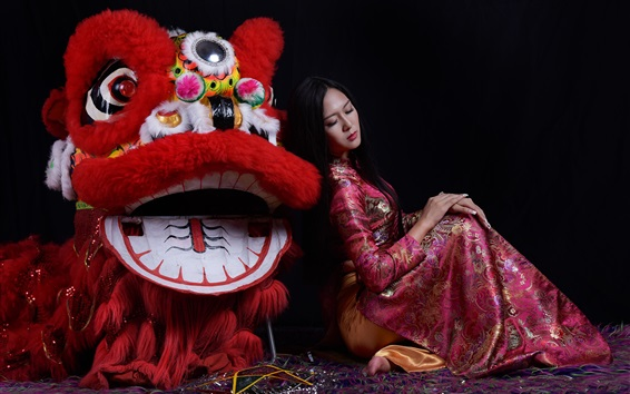 Wallpaper Chinese culture, lion and girl