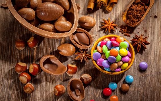 Papéis de Parede Chocolate, pílulas de chocolate coloridas