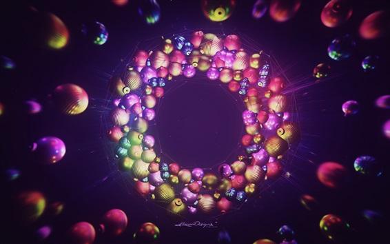 Wallpaper Christmas balls, 3D rendering, colorful