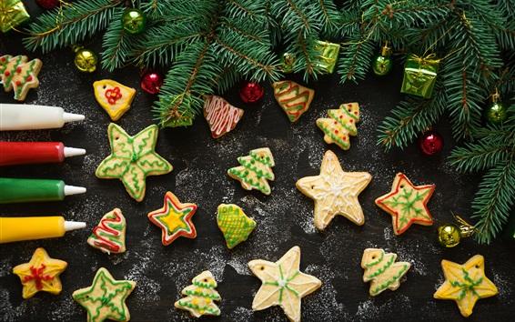 壁紙 クリスマス、クッキー、星、松の小枝