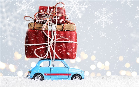 Wallpaper Christmas, decoration, toy car, gifts, snow