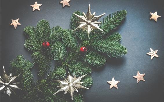 Wallpaper Christmas tree, stars, balls, decorations