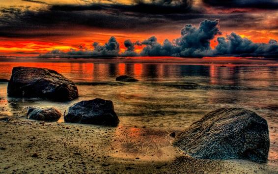 Обои Облака, камни, пляж, море, закат, стиль HDR