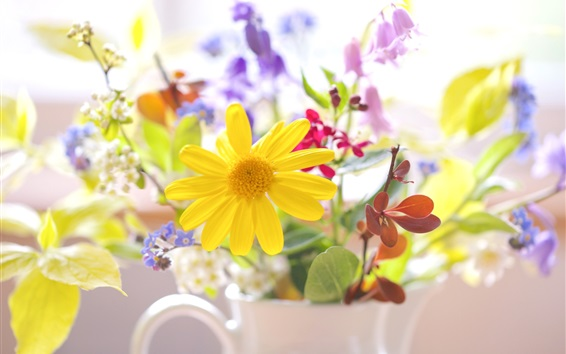 Wallpaper Colorful flowers, cup