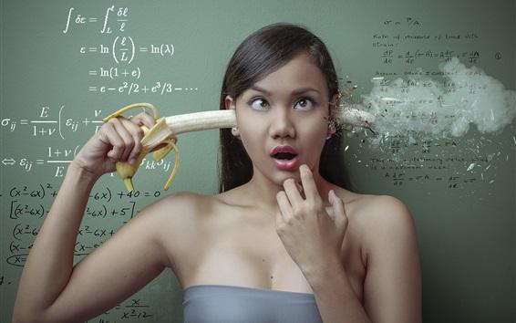 Papéis de Parede Design criativo, menina, banana, matemática