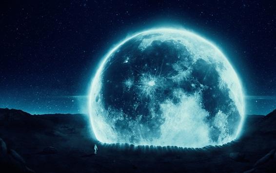 Обои Настольная графика, космонавт, планета, художественная фотография