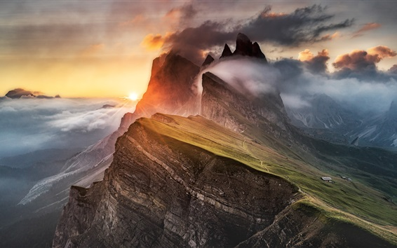 Wallpaper Dolomites, mountain, fog, clouds, Alps, sunrise