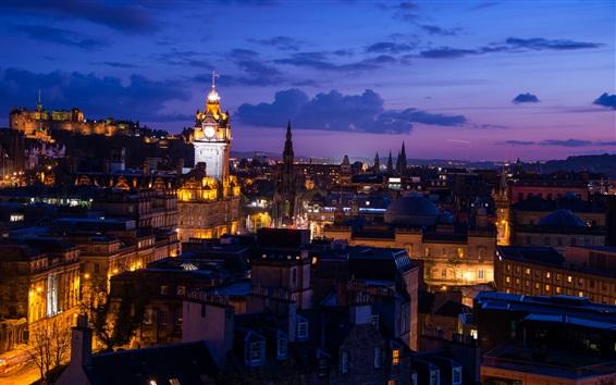 Fondos de pantalla Edimburgo, Escocia, ciudad, noche, luces