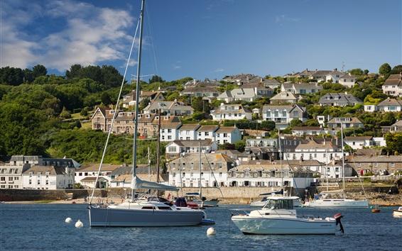 Wallpaper England, Cornwall, yachts, river, houses