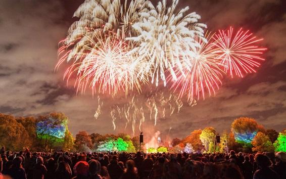 Papéis de Parede Inglaterra, Londres, fogos de artifício, noite, pessoas