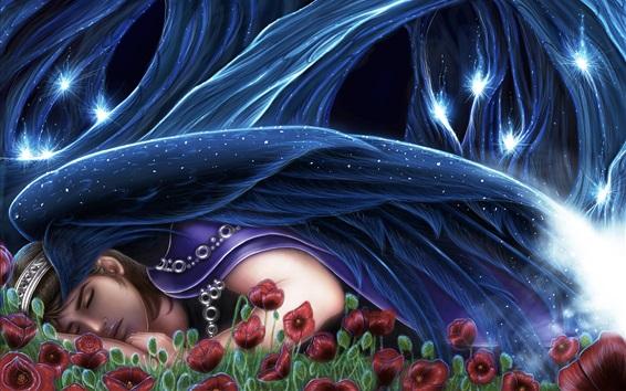 Wallpaper Fantasy girl sleeping, red flowers