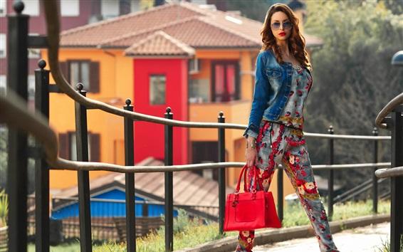 Fond d'écran Fille Fashion, lunettes, sac