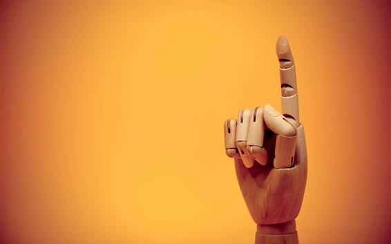 Wallpaper Finger gesture, wooden artworks
