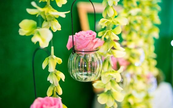 Fond d'écran Fleurs, rose, pot