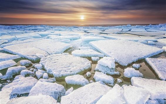 Fond d'écran Frise, au nord des Pays-Bas, glace, gel, mer, coucher de soleil