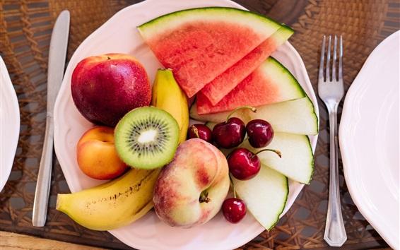 Fond d'écran Dessert de fruits, pastèque, pêche, cerise, banane, kiwi