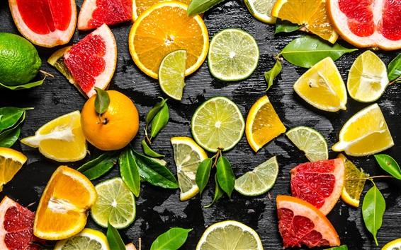 Wallpaper Fruit slice, lemon, lime, orange, grapefruit