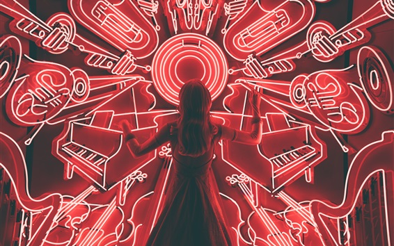 Wallpaper Girl back view, musical instruments neon lights
