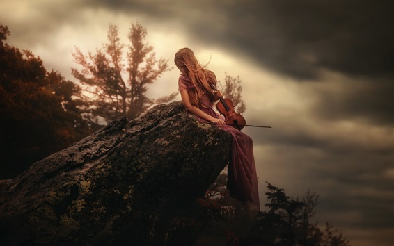 Wallpaper Girl sit on stone, violin, mountain top