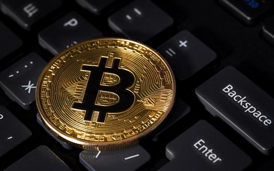 Wallpaper Golden Bitcoin, keyboard