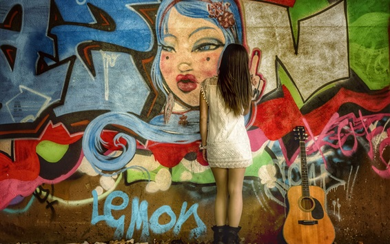 Wallpaper Graffiti wall, girl back view, guitar