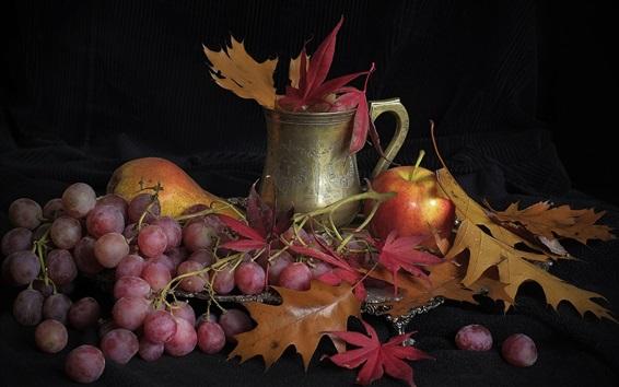 Fond d'écran Raisin, pomme, poire, feuilles, fruits, nature morte