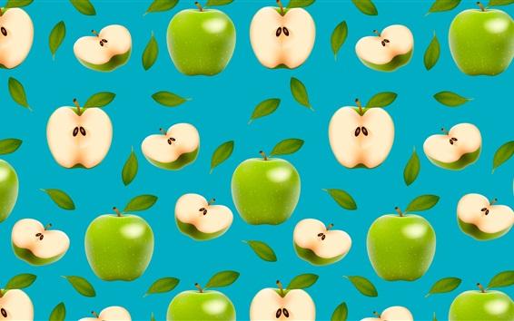 배경 화면 녹색 사과, 파란색 배경