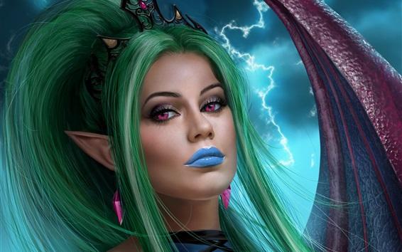 壁紙 緑色の髪のファンタジーガール、紫色の目、稲妻