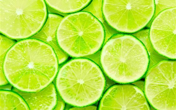 Fondos de pantalla Primer plano de rodajas de limón verde