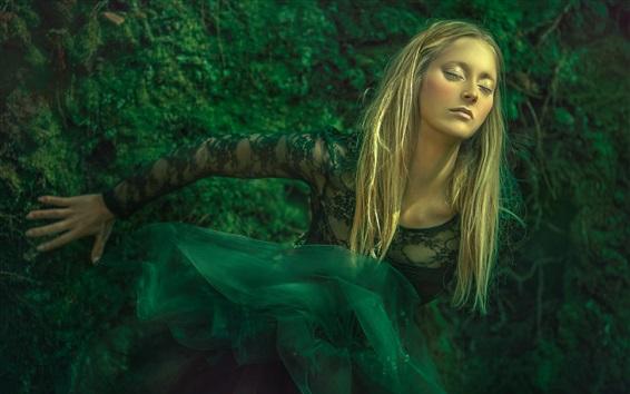 Wallpaper Green skirt, blonde girl, dream, art photography