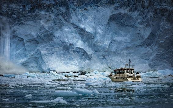 배경 화면 그린란드, 빙산, 빙, 폭포, 배, 눈