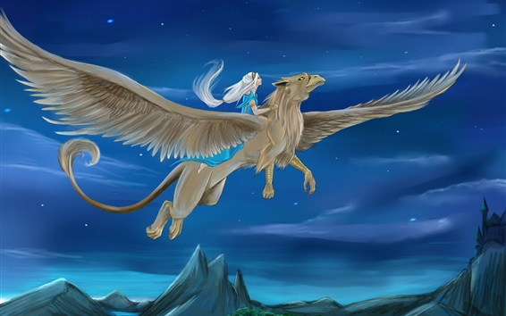 배경 화면 그리핀, 날개, 소녀, 밤, 예술 그림