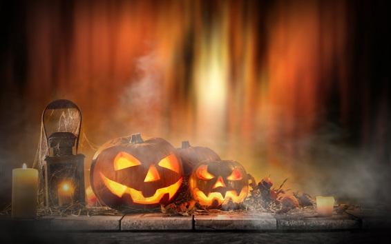 Fond d'écran Halloween, citrouille, bougies, lumières