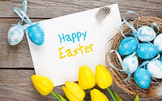 Wallpaper Happy Easter, eggs, yellow tulips