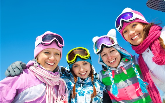 Papéis de Parede Meninas felizes, inverno, céu azul