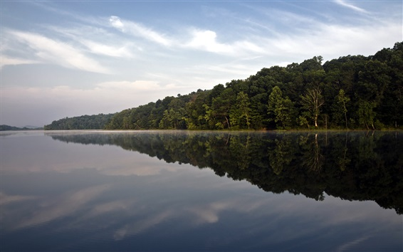Wallpaper Hoosier National Forest, trees, lake, water reflection