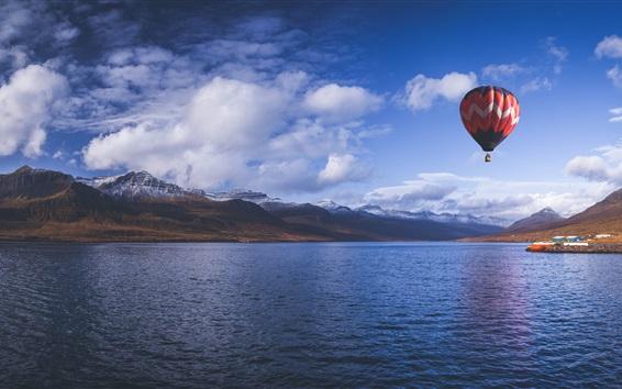 Papéis de Parede Balão de ar quente, céu, montanhas, fjord, mar, Islândia