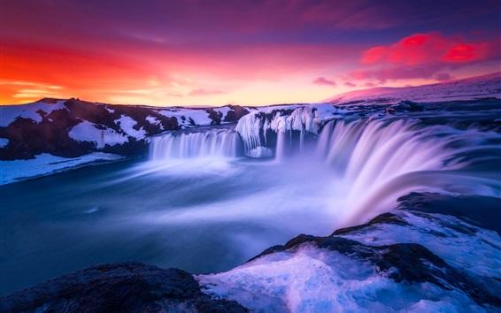 Wallpaper Iceland, beautiful snow, amazing landscape, sunrise