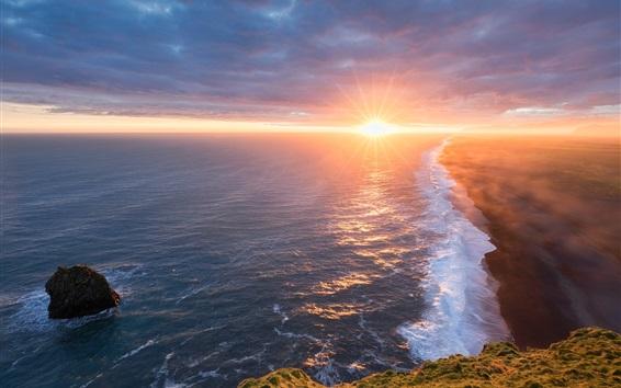 Wallpaper Iceland, beautiful sunrise, sea, beach, fog, morning