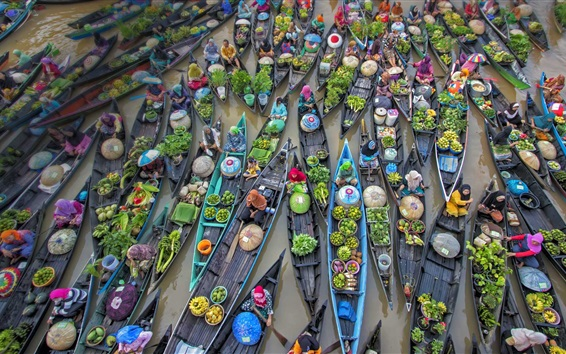 Wallpaper Indonesia, floating market, trade, river, boats
