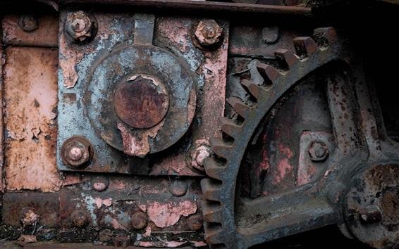 Fondos de pantalla Máquina industrial, óxido, engranaje