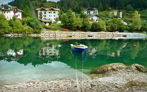 Wallpaper Italy, Molveno, river, boat, stones, houses