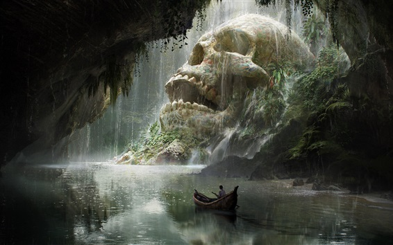 Обои Путешествие, череп, лодка, река, художественная фантазия