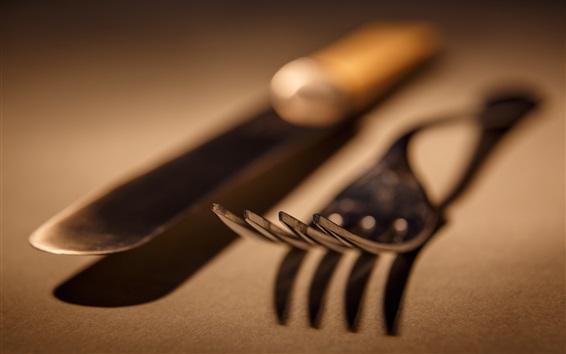 Wallpaper Knife, fork, macro photography