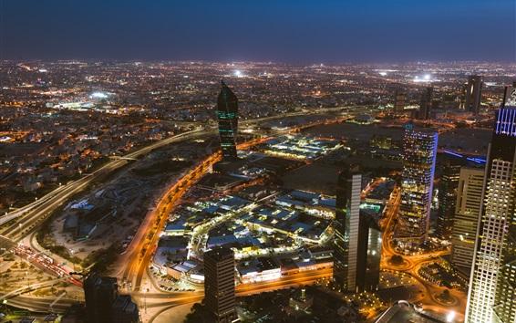 Papéis de Parede Kuwait, arranha-céus, noite da cidade, edifícios, luzes