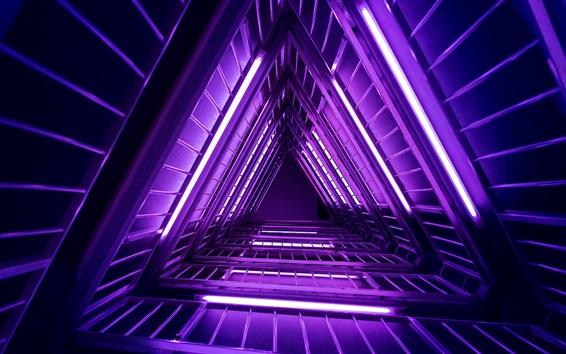 Обои Лестница, фиолетовые огни